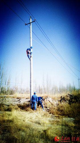 国网瓜州县供电公司扶正电杆