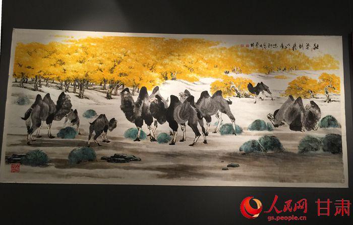 """值得一提的是杨志印独创""""冲墨法""""和""""皱纸法""""创作的国画作品表现了出奇"""